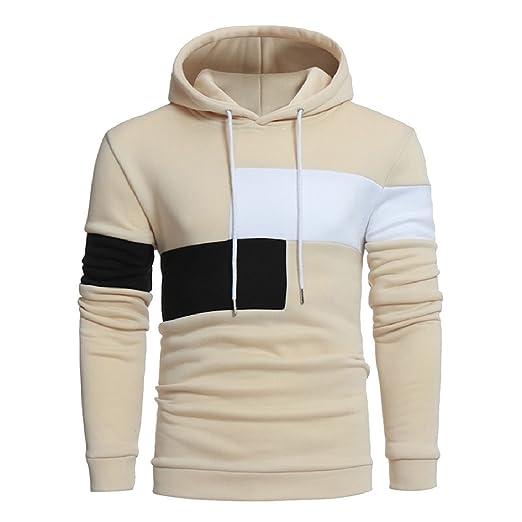 6d0824f7c113b Andopa Men Contrast Patchwork Hoodie Plus-Size Pullover Sweatshirt Beige 2XL
