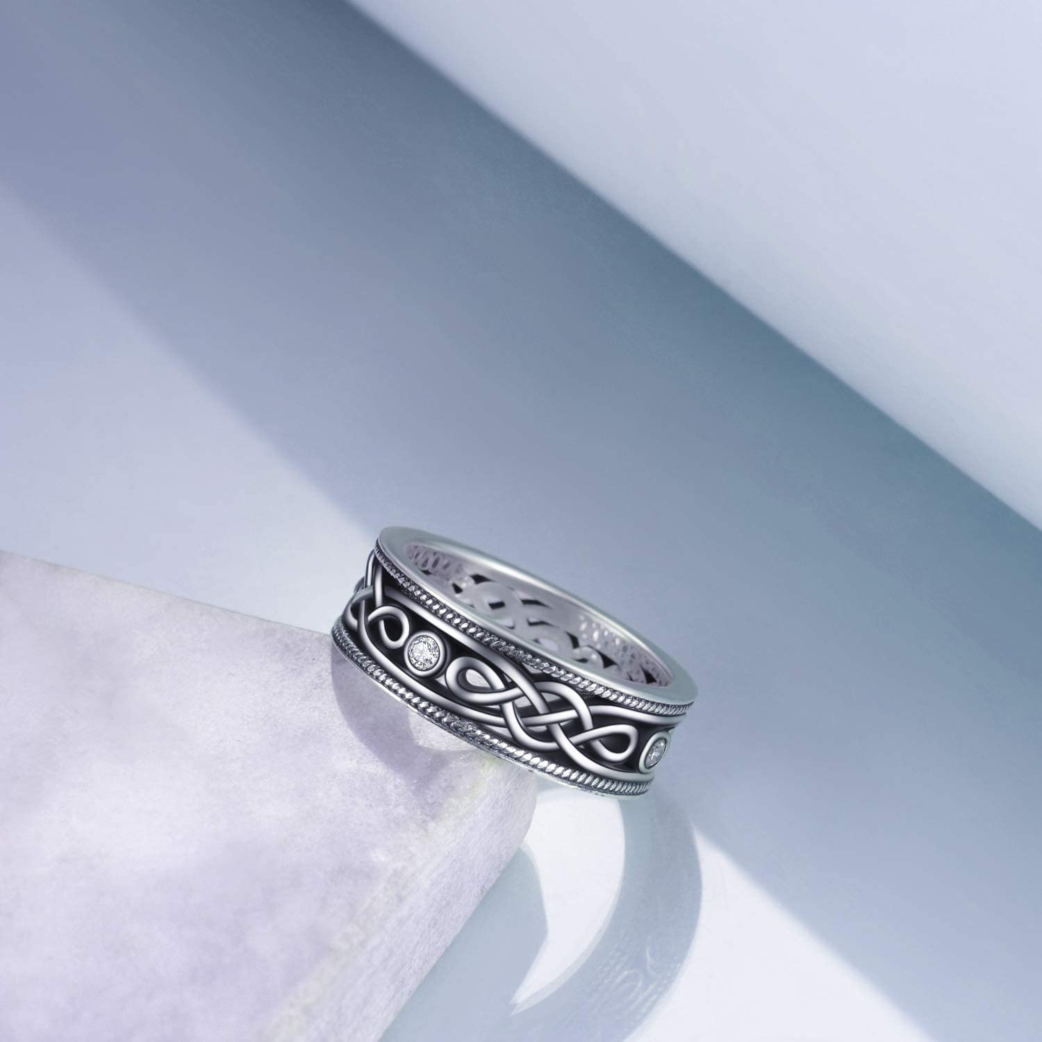 Details about  /MENDINO Men/'s Stainless Steel Ring Vintage Celtic Knot Oval Cubic Zircon Blue