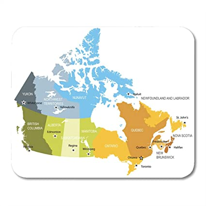 Provinces And Territories Of Canada Map.Amazon Com Emvency Mouse Pads Ontario Alberta Map Of Provinces And