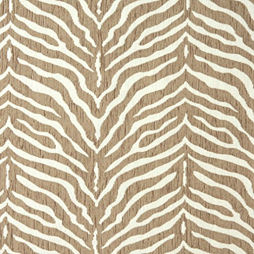 E190 Beige Zebra Pattern Textured Woven Chenille Contemporary Upholstery Fabric By The (Chenille Zebra Fabric)