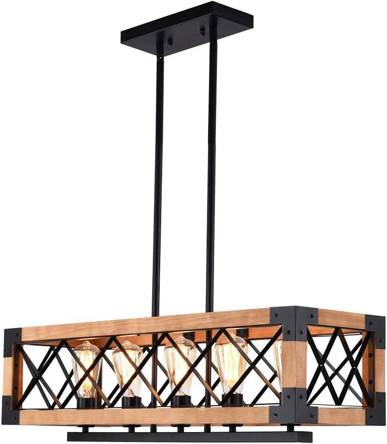 Farmhouse Wooden Kitchen Island Light, 5-Light Wood Frame Hanging Light for Industrial Dining Room, Vintage Industrial Kitchen Island Pendant Light Adjustable Hanging Light