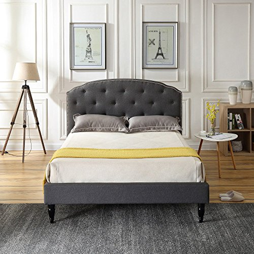 - Classic Brands DeCoro Cranleigh Upholstered Platform Bed   Headboard and Metal Frame with Wood Slat Support   Grey, Full