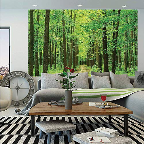 SoSung Landscape Wall Mural,Pathway in Forest Along Trees Foliage Woodland Landscape Picture Print,Self-Adhesive Large Wallpaper for Home Decor 83x120 inches,Dark Olive and Green