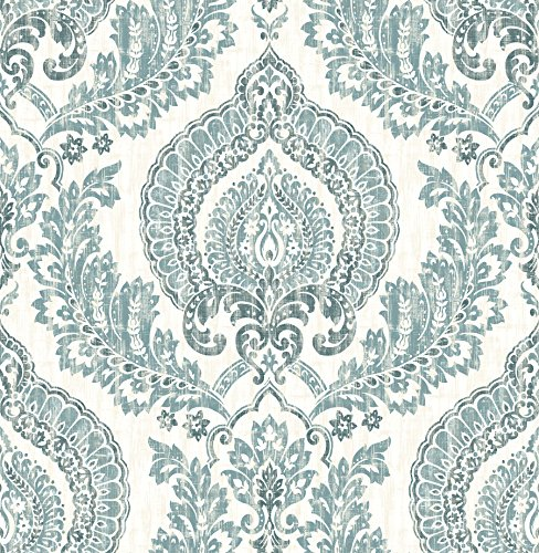 ensington Damask Blue Peel & Stick Wallpaper (Chic Wallpaper)
