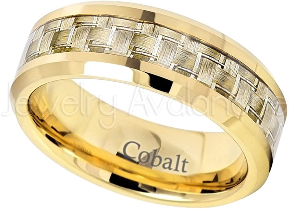 Jewelry Avalanche 8mm Yellow Gold Plated Cobalt Wedding Band Polished Comfort Fit Cobalt Chrome Ring with Golden Carbon Fiber Inlay Anniversary Ring