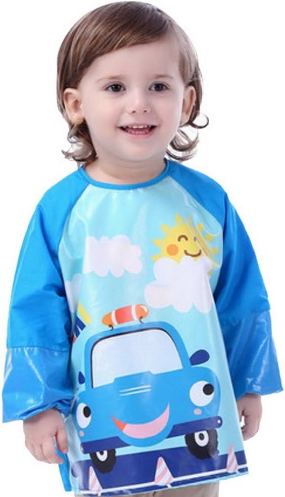 Happy Cherry - Delantal Babero Blusón Impermeable Infantil para pintar con mangas largas para Bebés niños niñas(4-6 años)- XL - Taxi