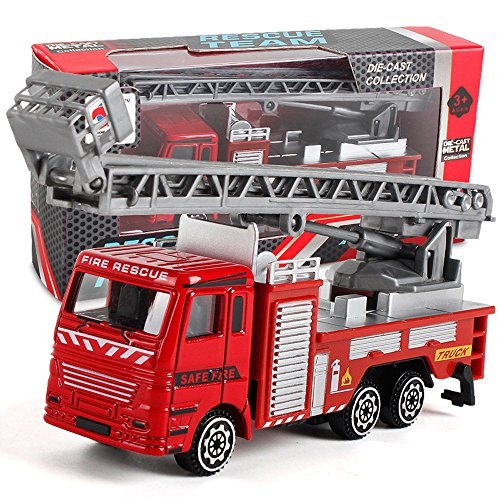 Toys Light and Sound Fire Engine Vehicle, Alloy Engineering Toy, Mining Car Truck, Children's Birthday Gift Fire Rescue Maintenance Truck, fire Truck, Ladder Truck