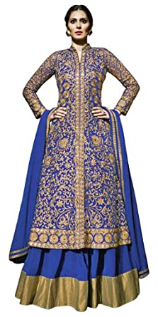 4ab5be85d3 Amazon.com: INMONARCH Royal Blue Net Long Jacket Lehenga Choli SLRD1358:  INMONARCH: Clothing