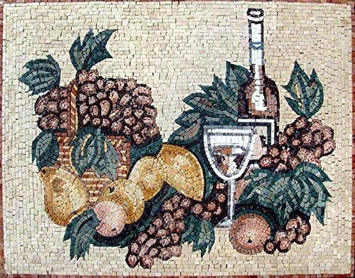 Mozaico - Fruits and Wine Mosaic Kitchen Backsplash Marble and Natural Stones Artwork Design MK001 by Mozaico