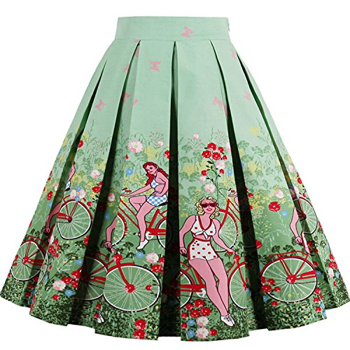 Women 50s Retro Pleated Wiggle Skirt Bubble with Floral Prints,Mint Green,XXL (Pleated Bubble)