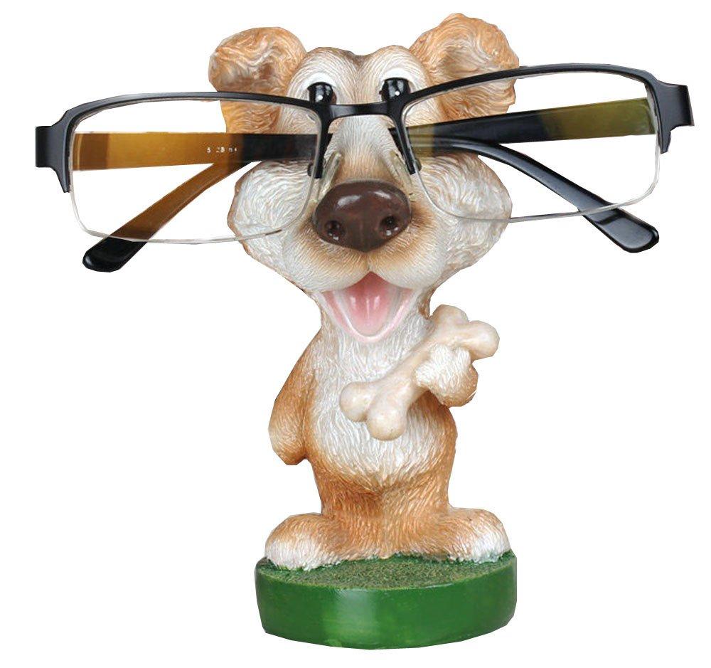 FUYU Cartoon Animal Eyeglass Holder, Dog Spectacle Holder Eyeglass Display Stands for Office Desk Sunglasses Holder Home Decoration