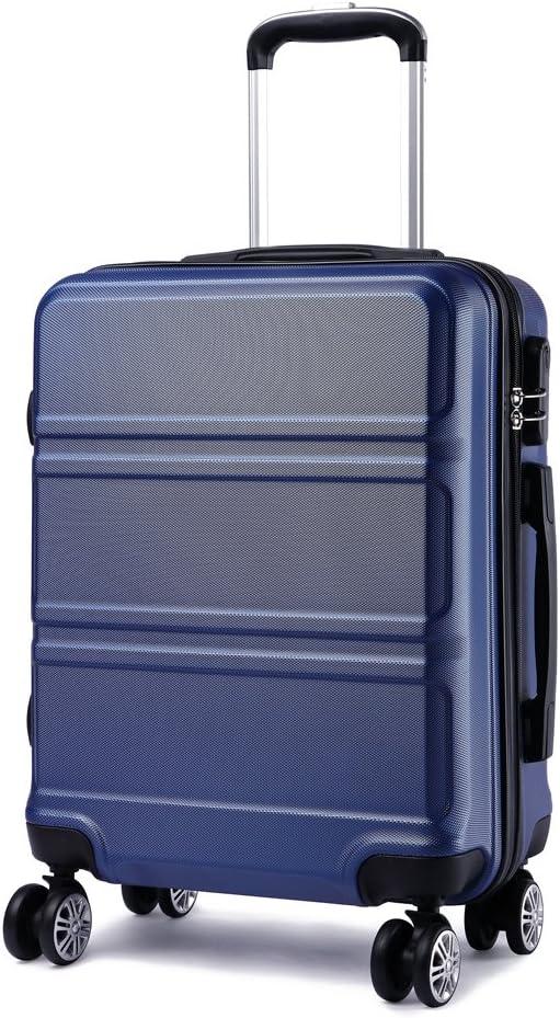 Kono Maleta de Cabina de ABS de 20 Pulgadas con Diseño Esculpido en Horizontal,4 Ruedas,55x40x22cm(Azul Marino)