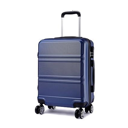 Kono Maleta de Cabina de ABS de 20 Pulgadas con Diseño Esculpido en Horizontal,4 Ruedas,55x40x22cm (Azul Marino)