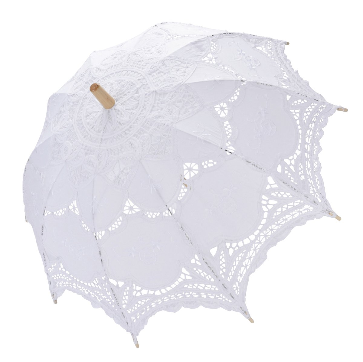 Tinksky Lace Umbrella Parasol Romantic Wedding Umbrella Photograph (White)