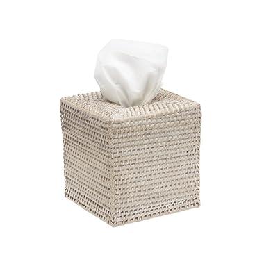 KOUBOO 1030036 Square Rattan Tissue Box Cover, 5  x 5  x 5.5 , White Wash