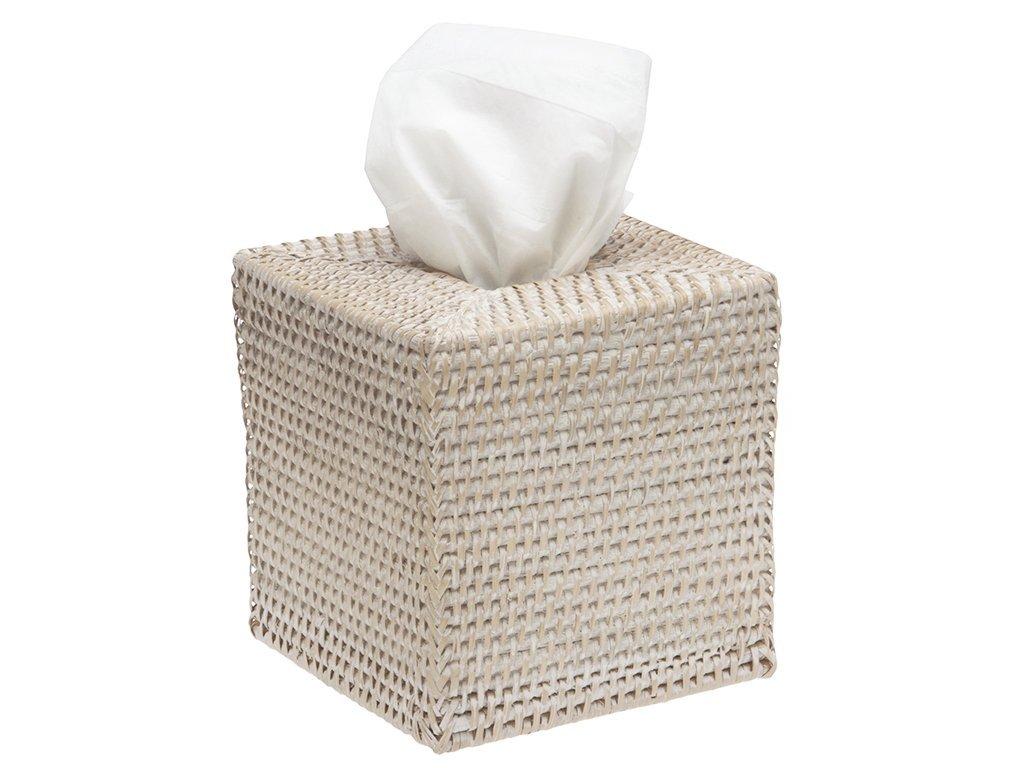 KOUBOO 1030036 Square Rattan Tissue Box Cover, 5'' x 5'' x 5.5'', White Wash