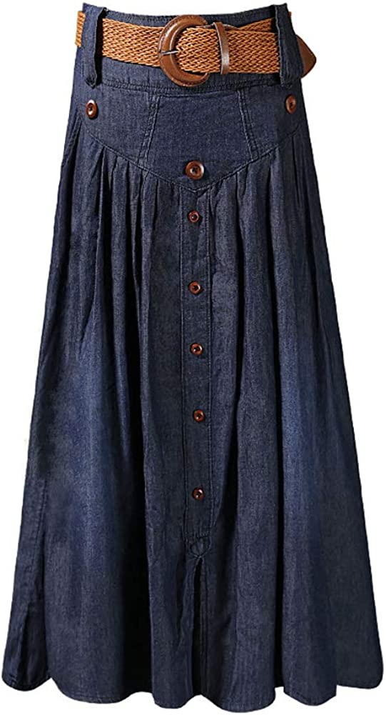S.Charma Womens Plus Size Denim Long Skirt Pocket High Waisted Pleated Midi Skirt with Belt