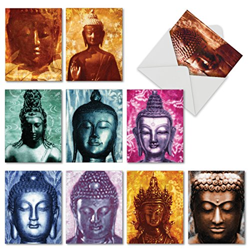M6542TYGsl Buddha Delight: 10 Assorted Thank You Note Cards Featuring Serene and Peaceful Buddha Images with Dreamy Backgrounds, w/White Envelopes.