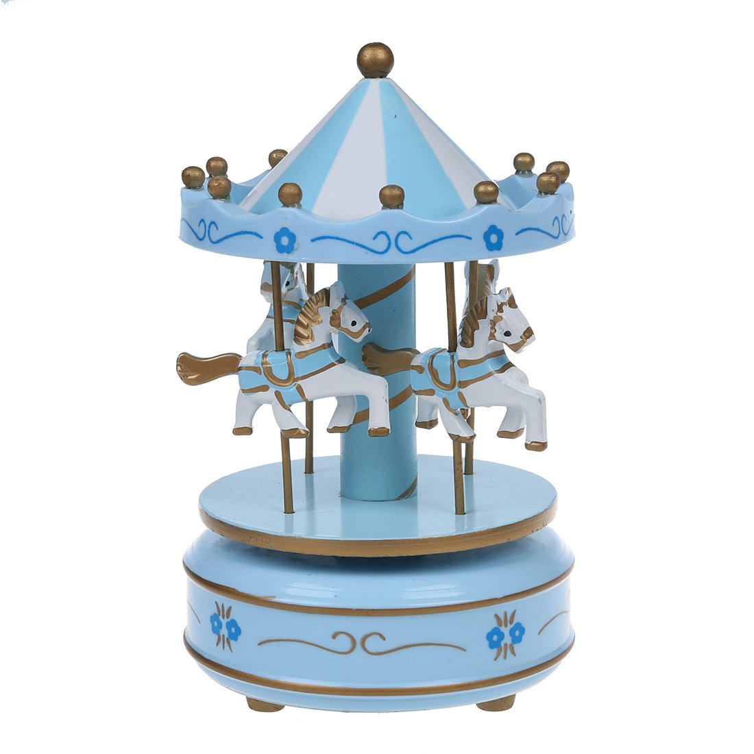 Carousels - SODIAL(R)Musical carousel horse wooden carousel music box toy child baby Deep Blue game SODIAL (R) 075766A4