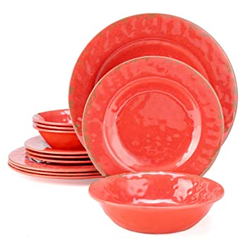 Yinshine Melamine Dinnerware Set, 12pcs Red Plates And Bowls Set, Service  For 4