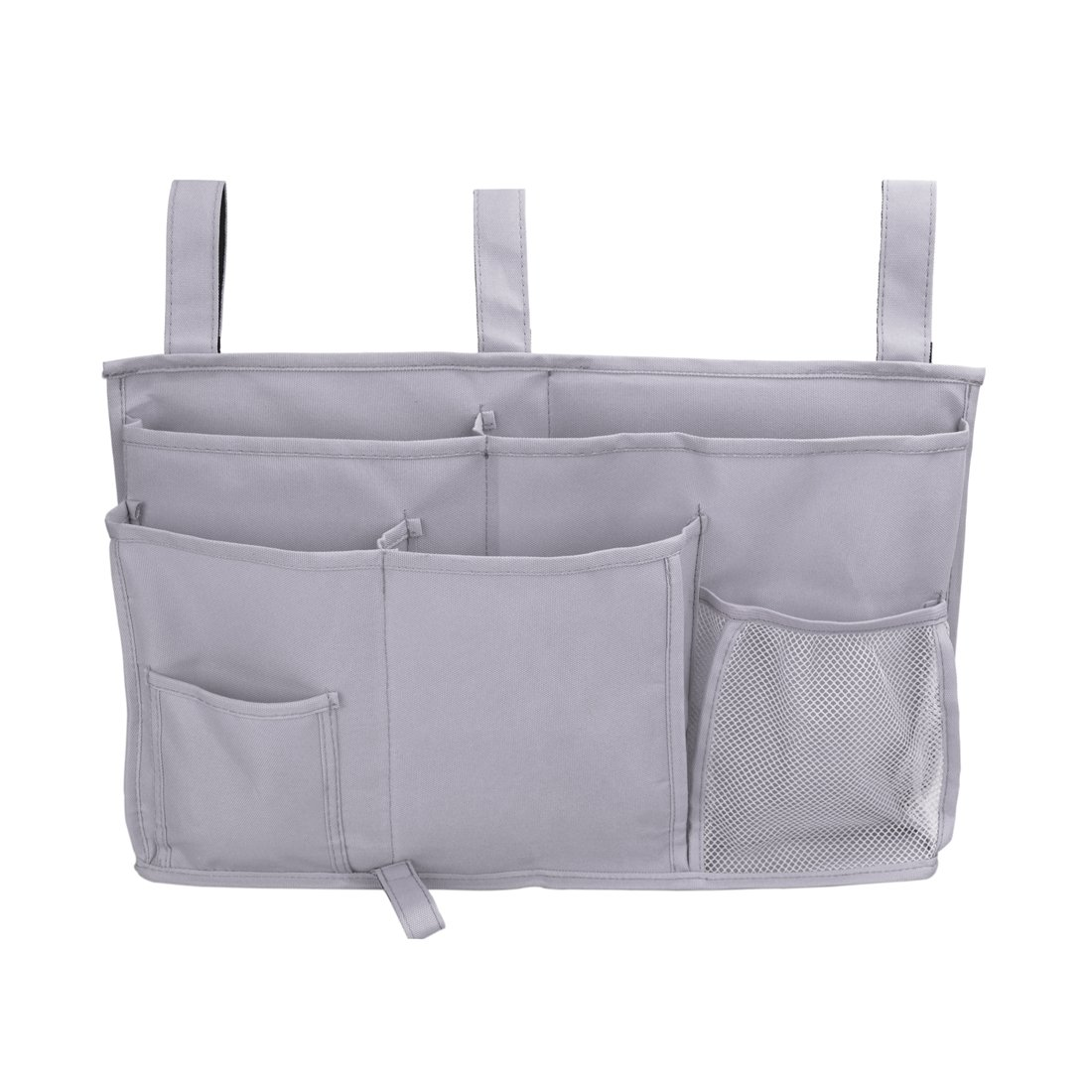 Jiyaru Bedside Caddy Hanging Organizer 8 Pockets Storage Bag for Bunk Dorm Rooms Hospital Bed Rails Gray