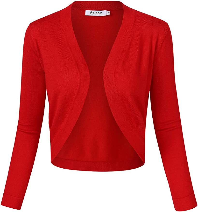 KOJOOIN Womens Vintage 3//4 Sleeve Open Front Ruffled Bolero Shrug Tops Knitting Cardigan
