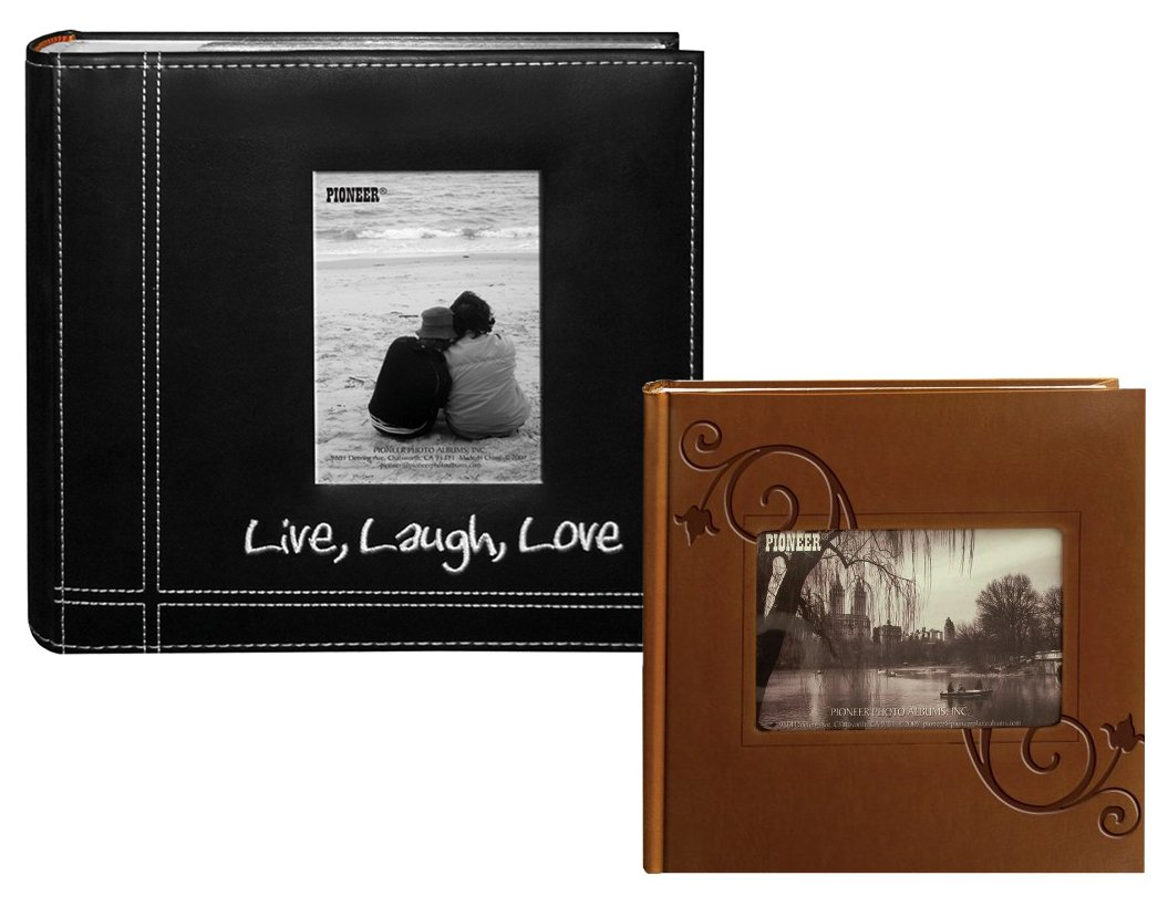 """Pioneer Photo Albums – Live Laugh Love and Embossed Floral Frame Cover - Holds 200 4"""" x 6"""""""