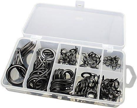Espeedy 75 Pcs Set Fishing Rod Guide Tip Repair Kit Eye Rings Stainless Steel Repair Eyes Sets