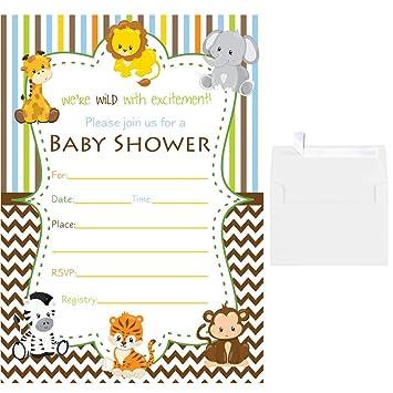 Amazon Com Blank Fill In Baby Shower Invitations Jungle Animals