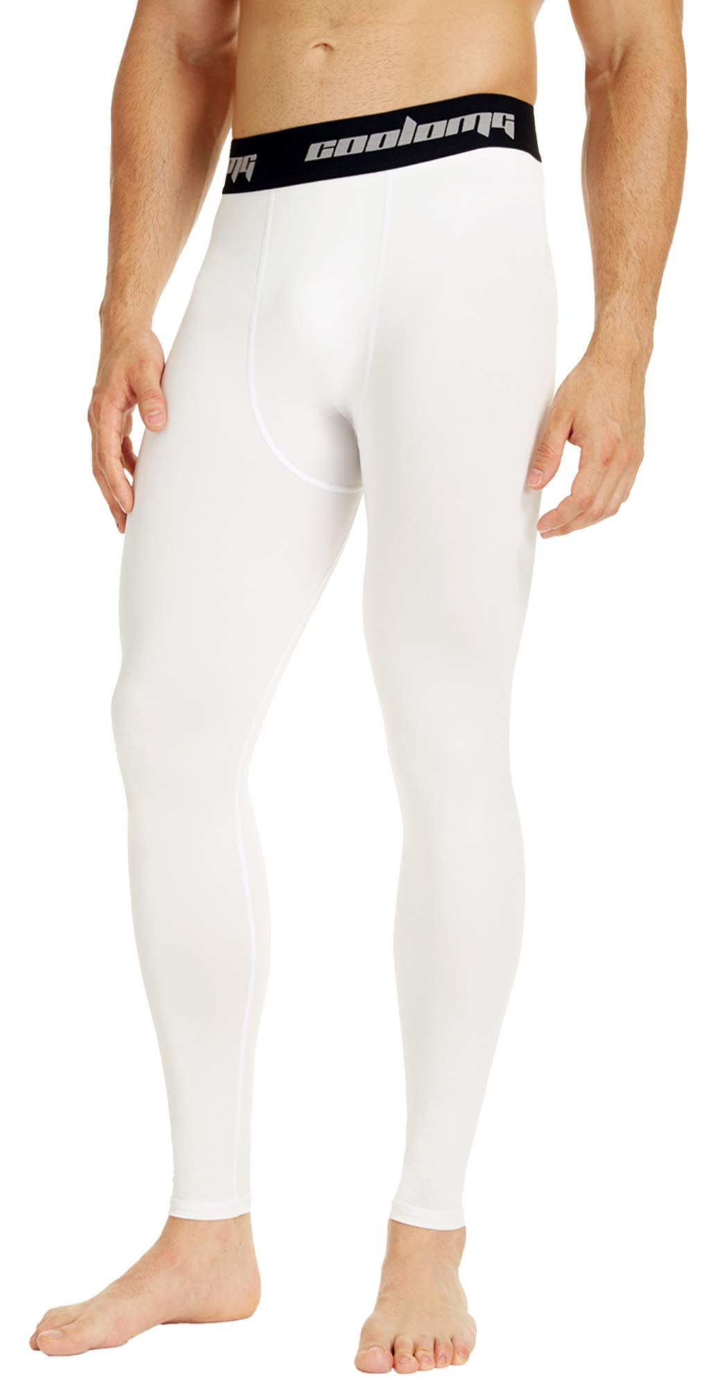 53ee8d06da51d Galleon - COOLOMG Mens Compression Pants Baselayer Cool Dry Sports Pants  Leg Tights For Men Boys Youth White S