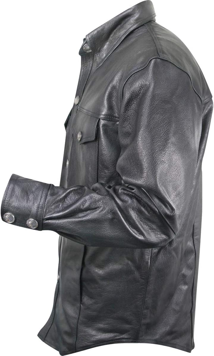 2X-Large Xelement XS908B Nickel Mens Black Leather Shirt with Buffalo Buttons