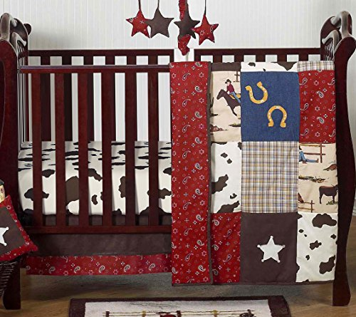 Denim Crib Bedding (Wild West Western Horse Cowboy Baby Boy Bedding 4 Piece Crib Set Without Bumper)