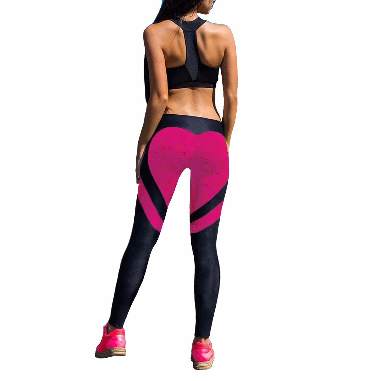 Fittoo Women's Heart Shape Yoga Pants Sport Pants Workout Leggings Sexy High Waist Trousers - Rose Red (Small)