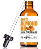 Organic Sweet Almond Oil by Renewalize in LARGE 4 OZ. DARK GLASS BOTTLE with Glass Eye Dropper | Highest Quality 100% Pure, Unrefined (Virgin) Cold Pressed Oil | Softens Dry Skin