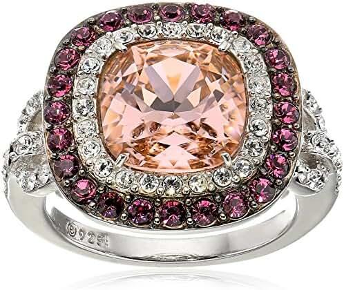 Platinum-Plated Swarovski Elements Crystal Cushion Double Halo Vintage Rose Ring Size 7