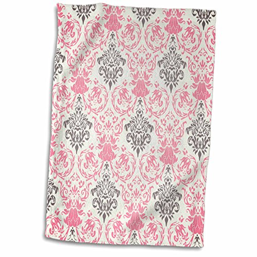 3D Rose Pink and Gray Damask Pattern on a White Background twl_44246_1 Towel, 15