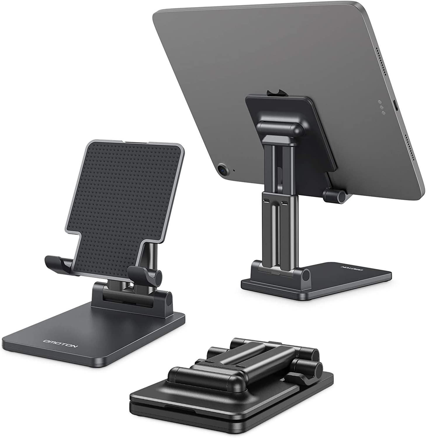 OMOTON Tablet Stand Foldable TA01 Desktop Stand, Height Angle Adjustable Aluminum Tablet Holder Cradle Dock Compatible with iPad, Samsung Tabs and Other Devices (Up to 11