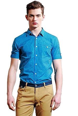 春夏 キレイなブルー ファッション メンズ 清楚 かっこいい 外出 半袖 通勤 シャツ ブラウス 襟付き
