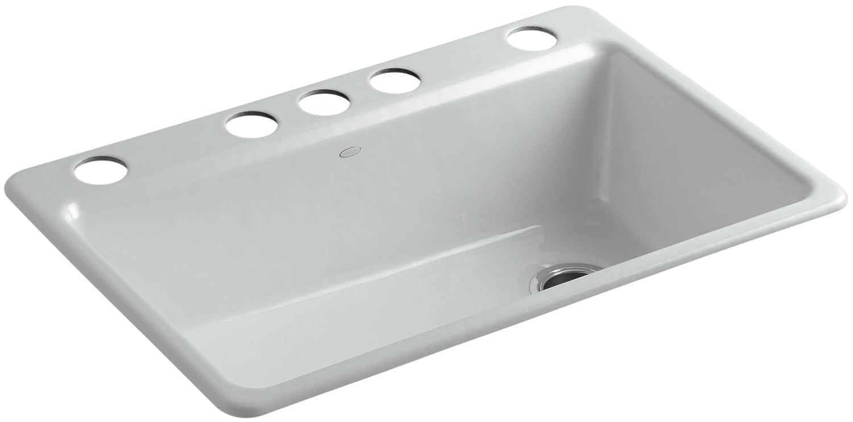 KOHLER K-5871-5UA3-95 Riverby Single Bowl Undermount Kitchen Sink, Ice Grey