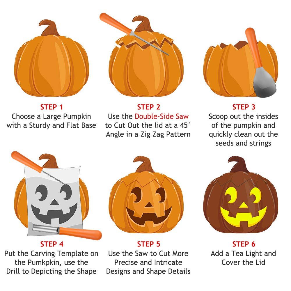 halloween pumpkin carving kit stanbow 4 piece sturdy stainless