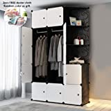 Cube Wardrobe Cabinet Cupboard Cloth Closet DIY Modular Clothing Storage Organizer Plastic 6 Cubes 2 Hanging Section 3 Corner Portable for Clothes Shoes Toys Bags Books