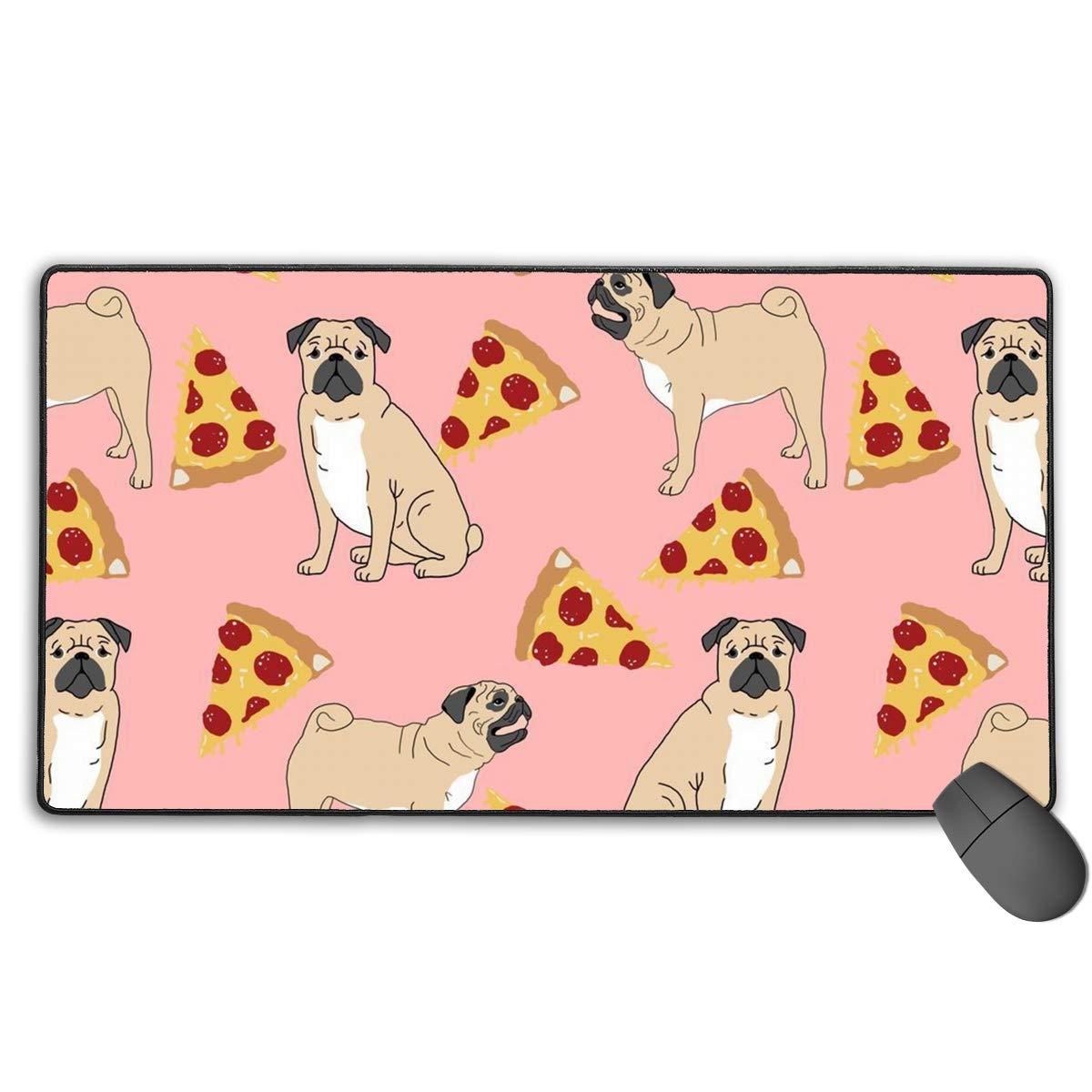 オフィスコンピュータ&PC用厚手大型マウスパッド プレミアムテクスチャードマウスマット 大型 ステッチエッジ ノンスリップゴムベース デスクライティングパッド ゲーム表面に最適化されたマウスパッド 15.7 × 29.5 inch B07NPGLT69 Pug Pizza Pink 15.7 × 29.5 inch