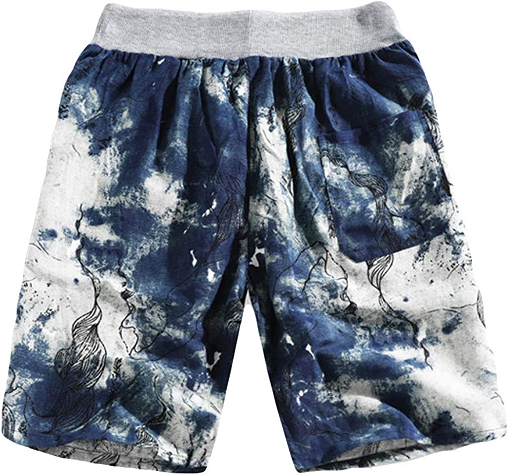 Fabal Mens Summer Fashion Casual Ethnic Style Printed Loose Linen Beach Shorts Pants