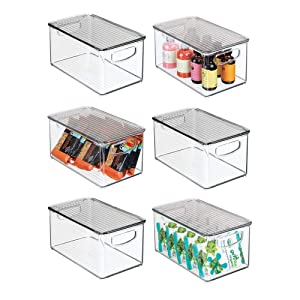"mDesign Plastic Stackable Kitchen Pantry Cabinet, Refrigerator, Freezer Food Storage Bin Box with Handles, Lid - Organizer for Fruit, Yogurt, Snacks, Pasta - 10"" Long, 6 Pack - Clear/Smoke Gray"