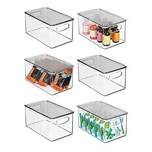 "mDesign Plastic Stackable Kitchen Pantry Cabinet, Refrigerator, Freezer Food Storage Bin Box with Handles, Lid - Organizer for Fruit, Yogurt, Snacks, Pasta - 10"" Long, 6 Pack - Clear/Smoke Gray"