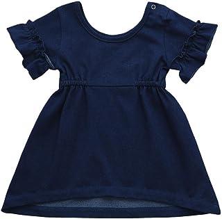 Jimmackey Neonata Volant Denim Vestito Solido O-Collo Principessa Tutu Abito Bambine Dress