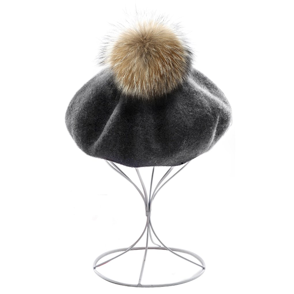 Womens Ladies Classic French Style Beret Cap Thick Wool Knit Winter Warm Beanie Hats with Fur Ball Pom, Xmas Gift (Grey) by Fakeface (Image #6)