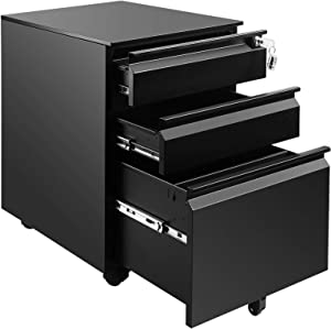 """File Cabinet 3-Drawer 23.6"""" Deep on Wheels Mobile Storage Cabinet for Home and Office with Key Lock and 5 Casters Metal Filing Cabinet for Any Legal and Letter File Size,Fully Assembled (Black)"""