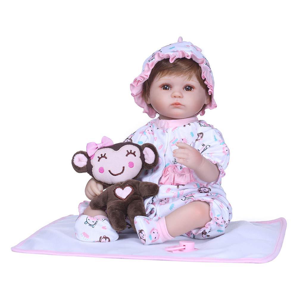 DomyBeste Reborn Baby 40cm Mädchen Jungen Schnuller Silikon Babypuppen Wie echt Lebensecht Spielzeug Geschenk (Bild 5)