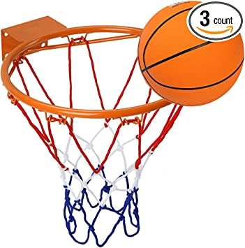 Basketball Hoop Hanging Wall Mounted Basketball Goal Hoop Rim with Net Screw for Outdoors & Indoor 32 cm// 12.6 Inch